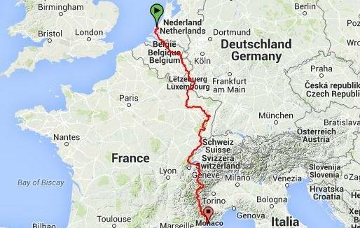 Route van GR5 van Hoek van Holland naar Nice