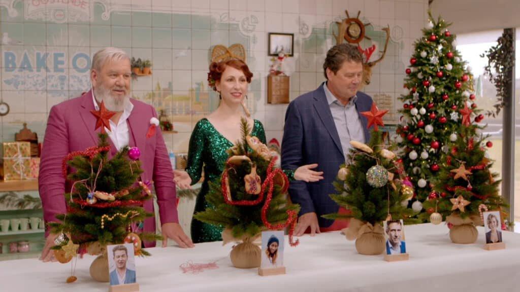 Bake Off Vlaanderen Kerstspecial met Herman Van Dender, Regula Ysewijn en presentator Wim Opbrouck